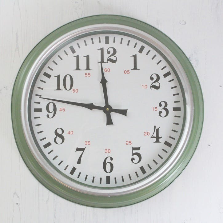 Soft Green Wall Clock