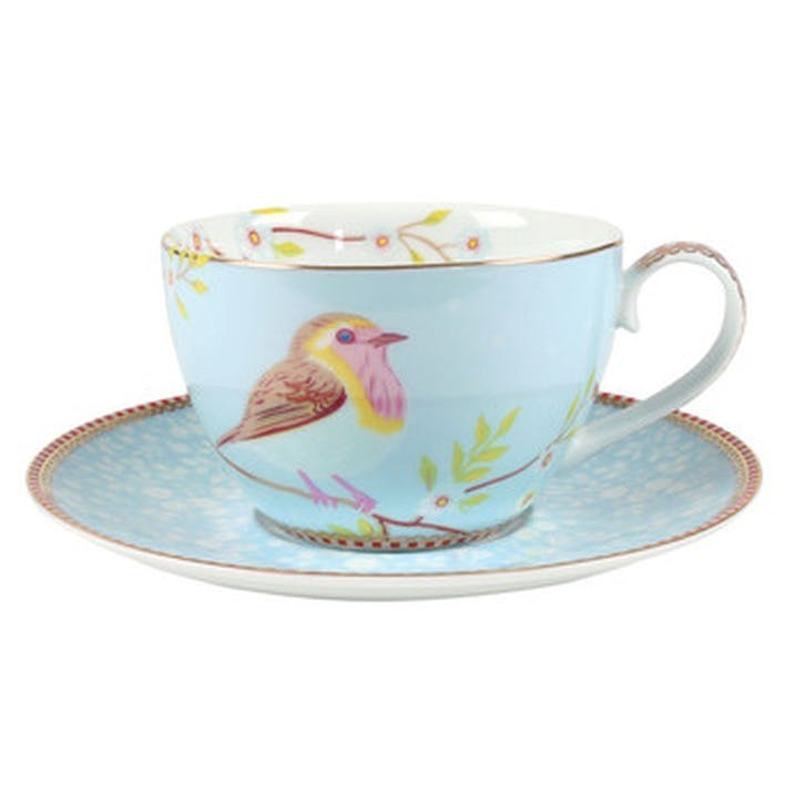PiP Floral 2.0 Early Bird Cappuccino Cup & Saucer, Blue