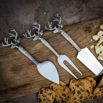 Stag Head Cheese Knives, Set Of 3