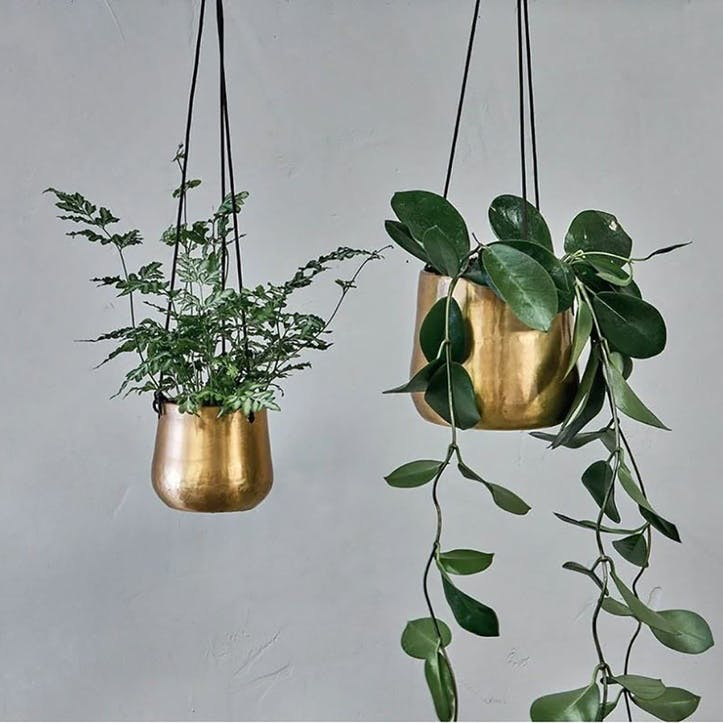 Atsu Brass Hanging Planter Large