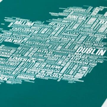 Type Map Screen Print Ireland, 50cm x 70cm, Deep Sea Green