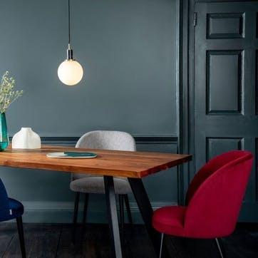 Austen Dining Chair Plush Velvet Burgundy Black