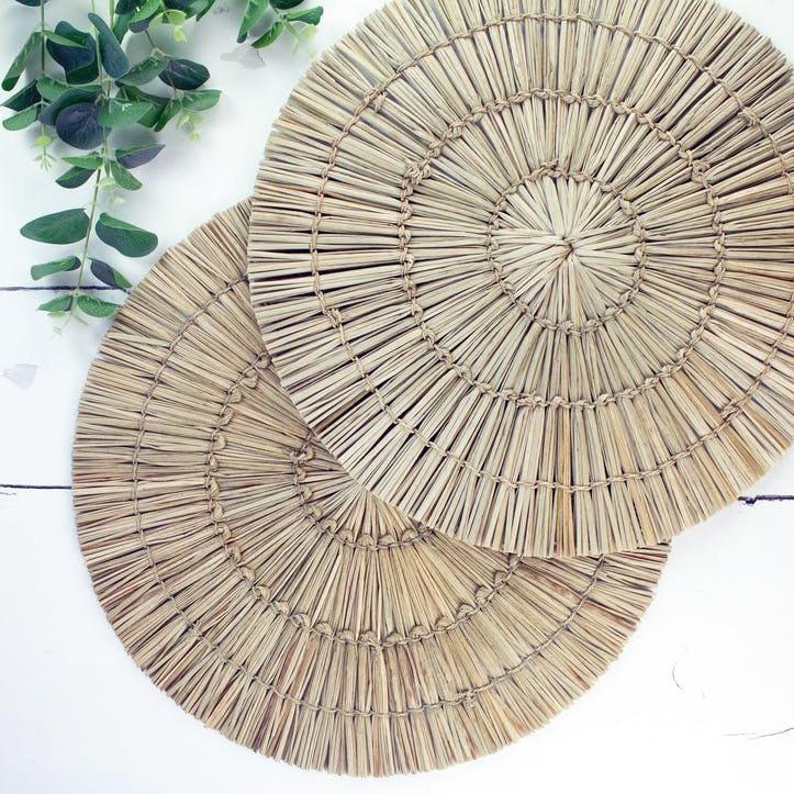 Fringed Seagrass Placemat, Set of 2