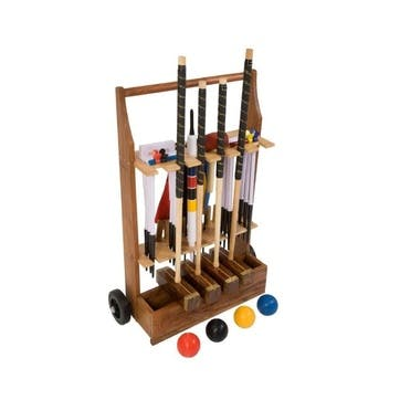 4 Player Championship Croquet Set with Wooden Storage Trolley