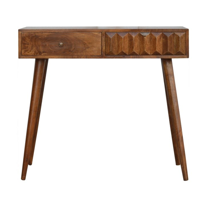Geo Prism Console Table, Chestnut