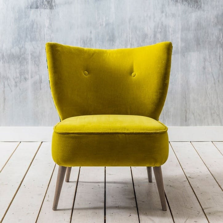 Alpana Printed Yellow Velvet Cocktail Chair