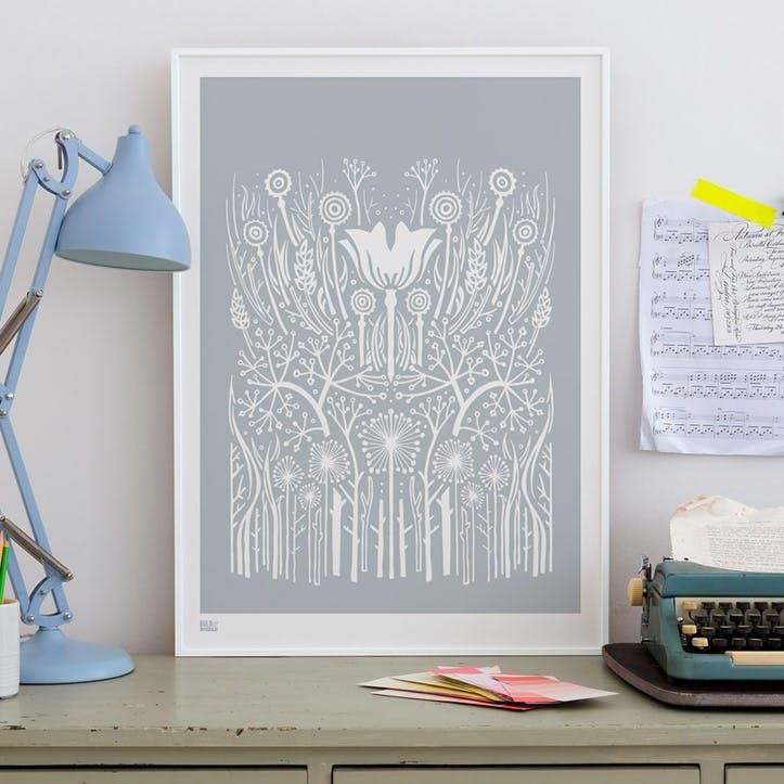 Hedgerow Screen Print, 50cm x 70cm, Warm Grey