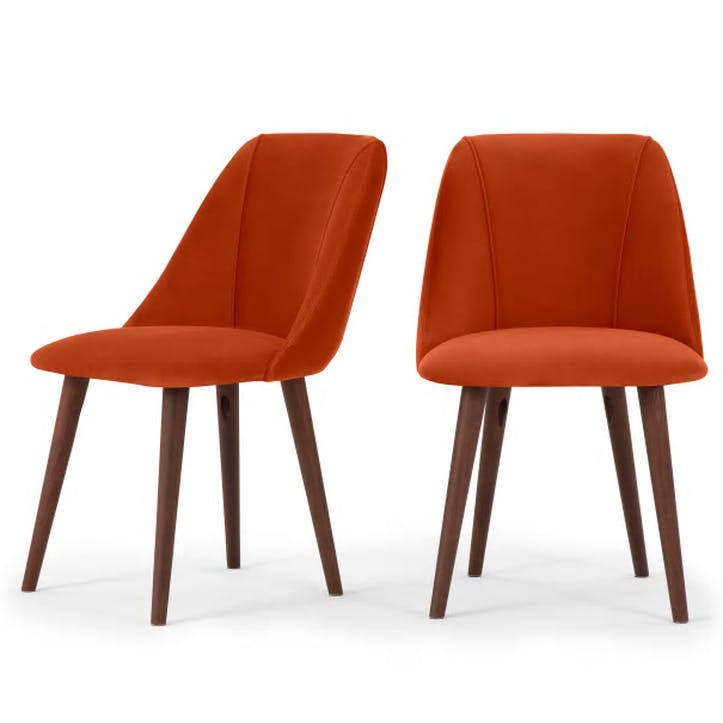 Lule Set of 2 Dining Chairs; Flame Orange Velvet