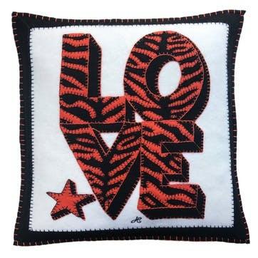 Tiger Love Cushion, 46 x 46cm, Cream