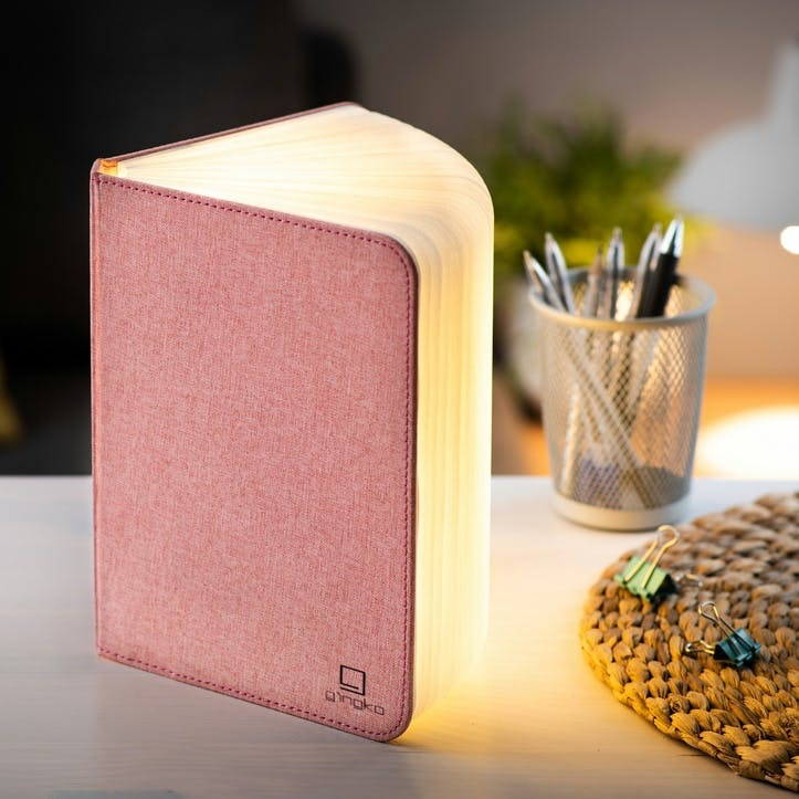 Linen Book Light, Large, Blush Pink