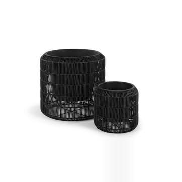 Nadda Set Of Two Round Polyrattan Plant Stands, Black
