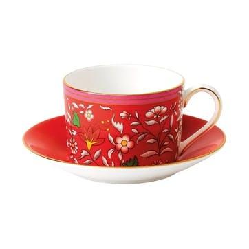 Wonderlust Crimson Jewel Teacup & Saucer