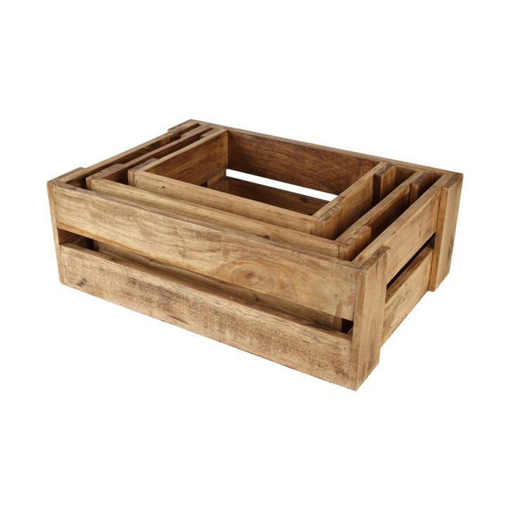 Nested Rustic Crates, Set of 3