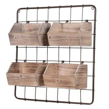 Wood and Metal Wall Rack