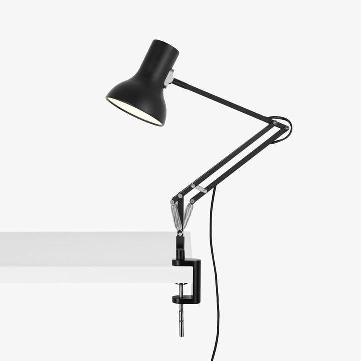 Type 75 Mini Lamp with Desk Clamp, Jet Black