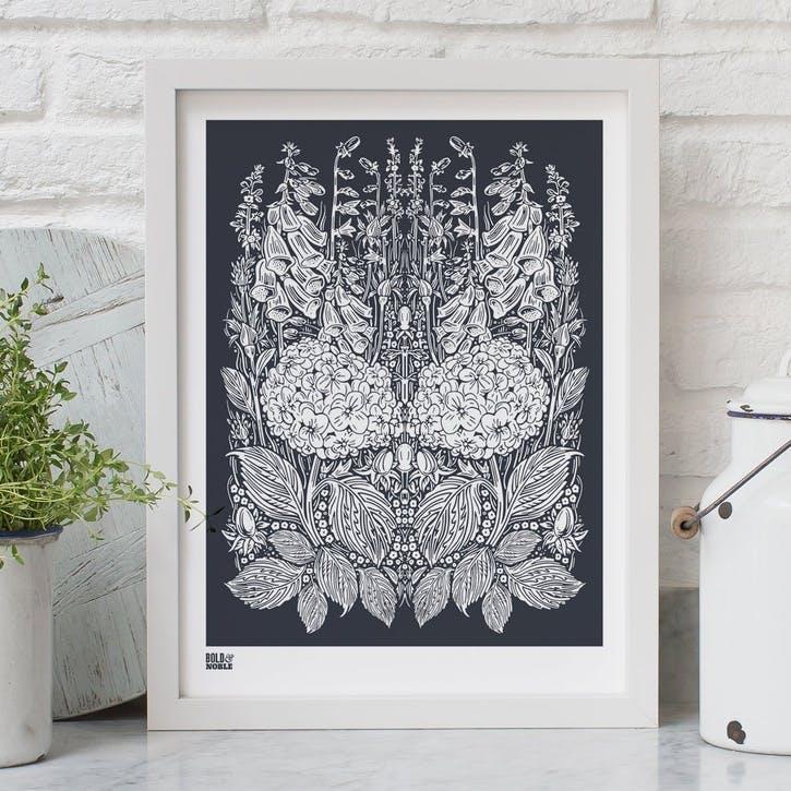 Hydrangea Foxglove Screen Print - 30 x 40cm; Sheer Slate