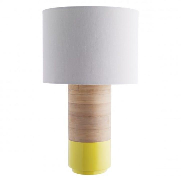 Tub Spun Bamboo Table Lamp with Shade, Yellow
