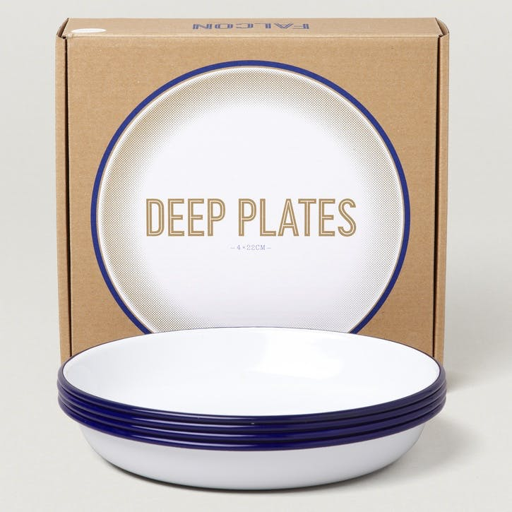Deep Plates Set of Four, White with Blue Rim