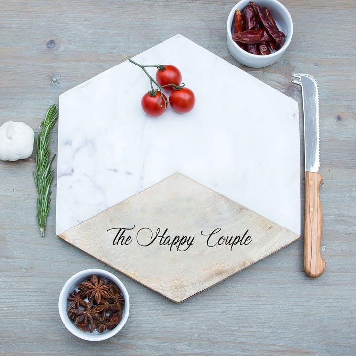 """""""The Happy Couple"""" Engraved Marble Platter"""