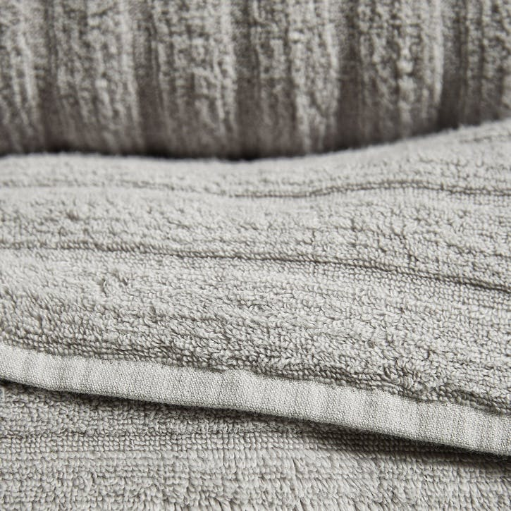Hydrocotton Ribbed Towel, Hand Towel, Pearl Grey