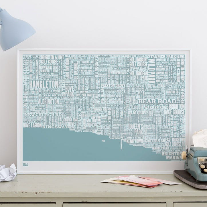 Type Map Screen Print Brighton, 50cm x 70cm, Coastal Blue