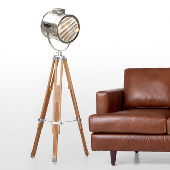Alfred Tripod Floor Lamp; Natural Wood