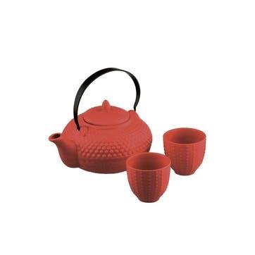 Oriental Hobnail Teapot & Cups Shojohi Red, 85cl