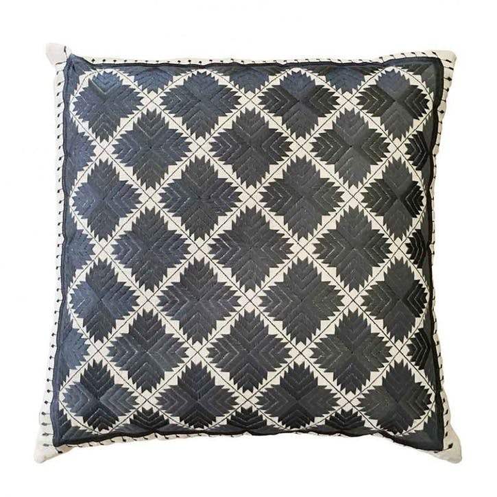 Phulkari Diamonds Embroidered Square Cushion; Grey