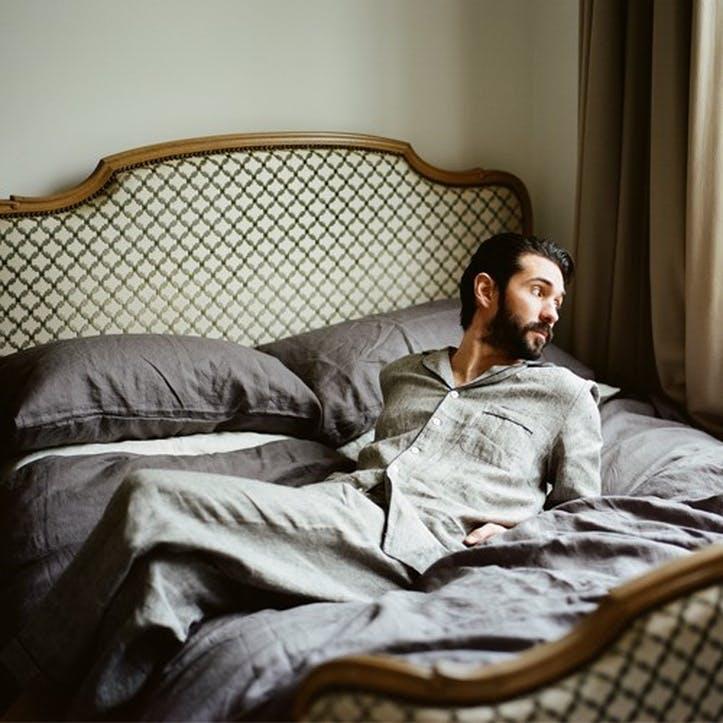 Men's Grey Linen Pyjama Set, Medium
