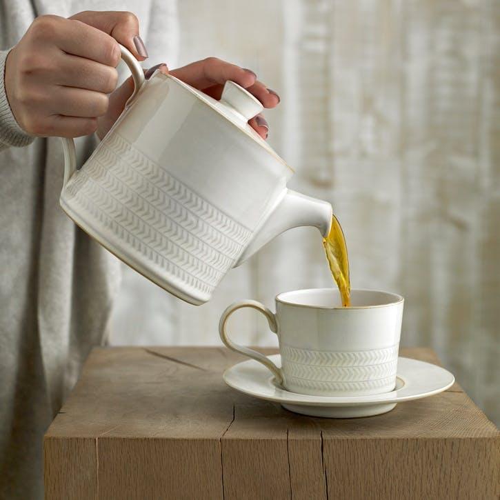 Natural Canvas Textured Tea/ Coffee Cup, 220ml, Cream