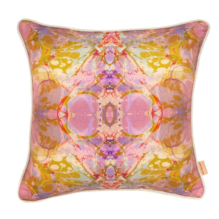 Lavender Tapestry Kaleidoscope, Square Linen Cushion, H49 x W49cm