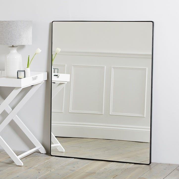 Chiltern Thin Metal Rectangle Mirror, Black