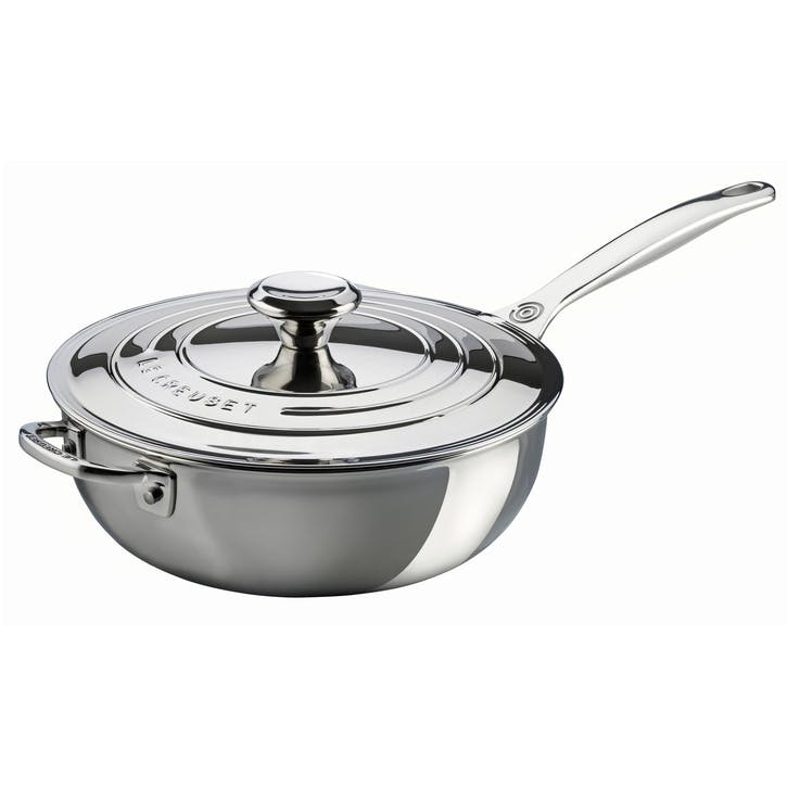 Signature Stainless Steel Non-Stick Coated Chef's Pan With Lid - 24cm