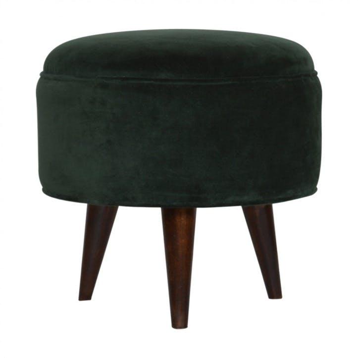 Nordic Velvet Footstool, Emerald