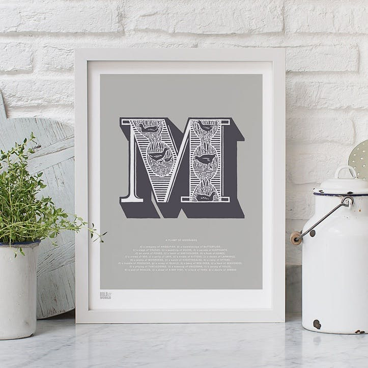 Illustrated Letter M Screen Print, 30cm x 40cm, Putty