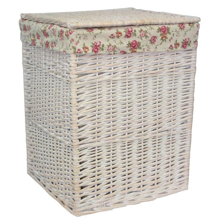 Square White Wash Laundry Hamper With Garden Rose Lining, Large