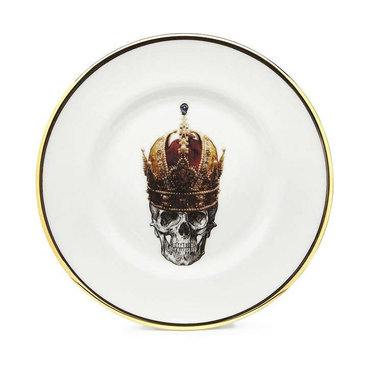 Rock and Roll Skull in Red Crown Side Plate