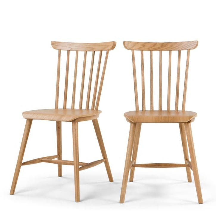 Deauville Set of 2 Dining Chairs; Oak