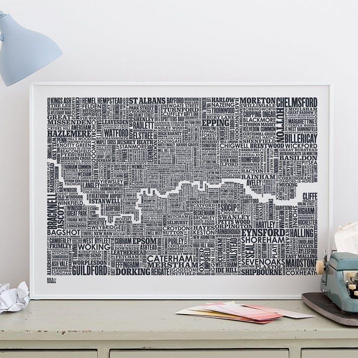Type Map Screen Print London & Beyond, 50cm x 70cm, Sheer Slate