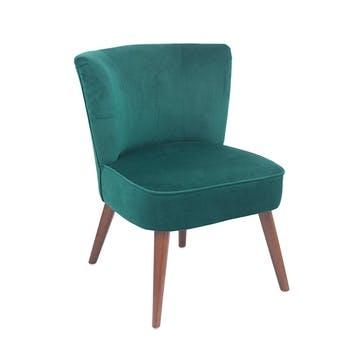 Austen Velvet Cocktail Chair, Forest Green