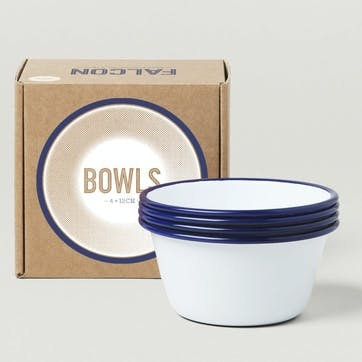 12cm Bowls, White with Blue Rim