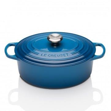 Cast Iron Oval Casserole - 27cm; Marseille Blue