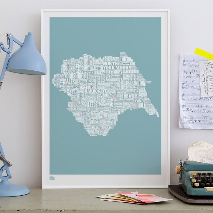 Type Map Screen Print Yorkshire, 50cm x 70cm, Coastal Blue