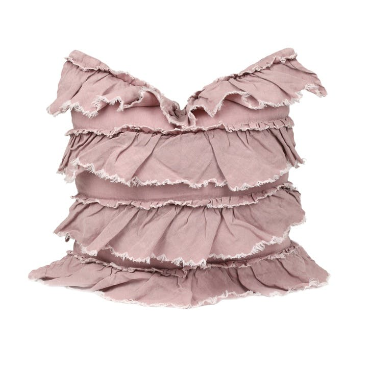 Linen Layer Frill Cushion, Mushroom Pink