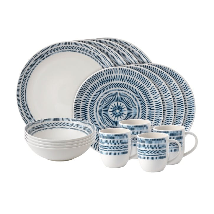 ED Ellen DeGeneres 16 Piece Dinner Set, Cobalt Blue Chevron