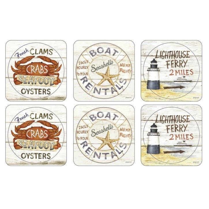 Coastal Signs Coasters, Set of 6