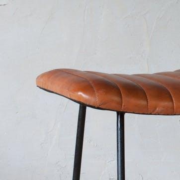 Narwana Ribbed Leather Stool - Small