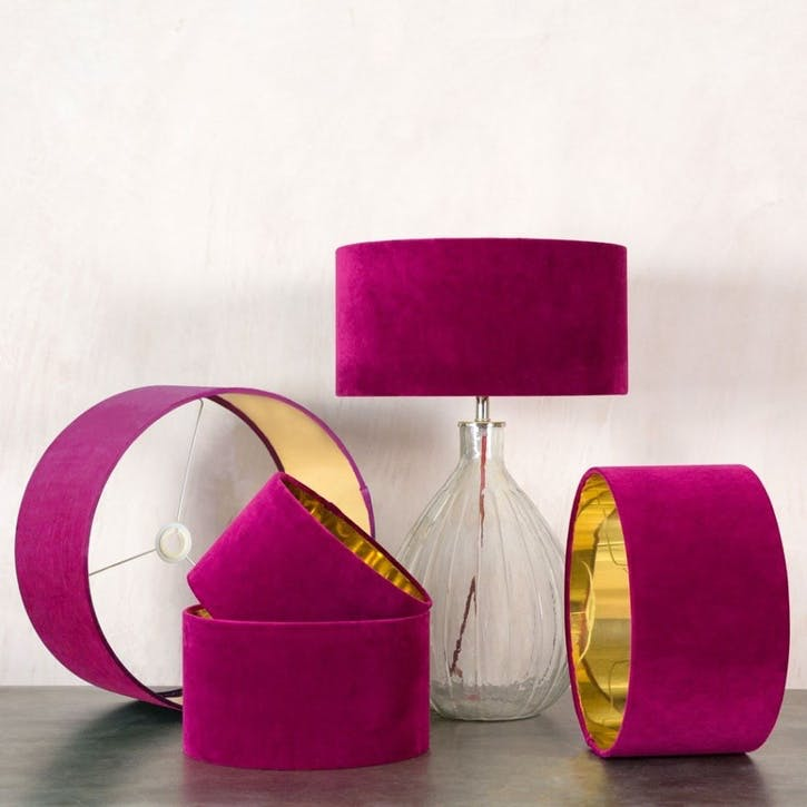 """Tulip Pink Velvet 12"""" Lamp Shade"""