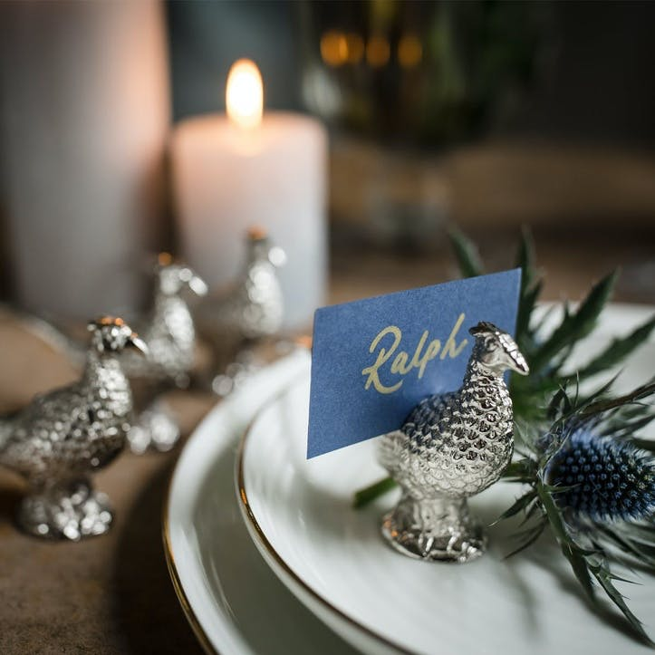 Pheasant Place Card Holder Set Of Four; Silver Finish