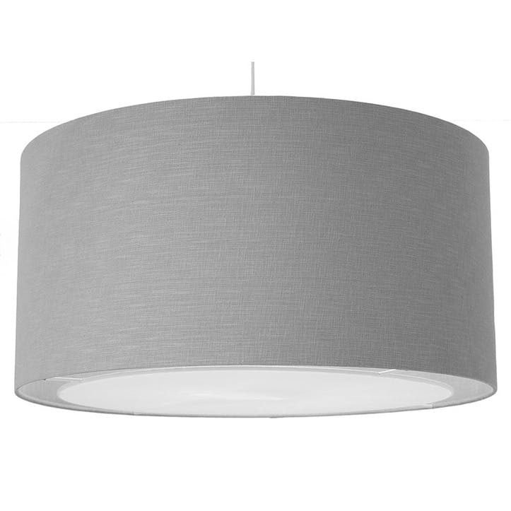 Linen Easy Fit Pendant with Diffuser - 60cm; Grey